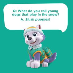 Tell your children this silly kids joke featuring Everest from PAW Patrol: What do you call young dogs that play in the snow? Funny Kids Homework, Funny Jokes For Kids, Silly Jokes, Funny Puns, Dad Jokes, Funny Ideas, Boy Quotes, Jokes Quotes, Funny Quotes