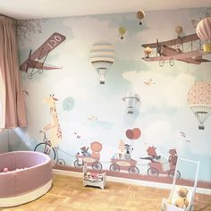 Little Hands Wallpaper - just need to know the exact measure of your wall Baby Bedroom, Baby Boy Rooms, Nursery Room, Kids Bedroom, Baby Room Themes, Baby Room Decor, Nursery Themes, Little Hands Wallpaper, Kids Room Wallpaper