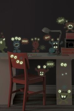 Little Monsters Glow in the Dark Wall Stickers