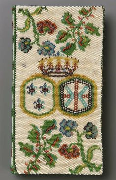 Beadwork book cover, made in France in the late 18th century (source).