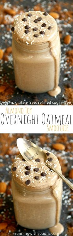 Almond Joy Overnight Oatmeal Smoothie - cool, creamy, and sure to keep you satisfied for hours! This vegan smoothie combines the flavours of chocolate, almonds, and coconut in a delicious and healthy breakfast!    runningwithspoons.com #vegan #healthy