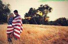 Our engagement photo with American flag
