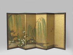 Kamerschermen Vroege lente, school of Unkoku, ca. 1630 - ca. 1660