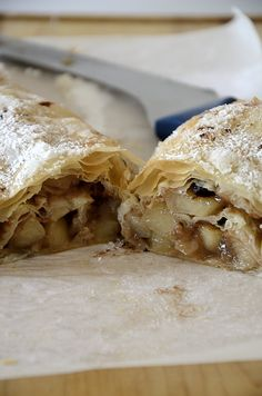 Holiday Desserts, Easy Desserts, Delicious Desserts, Recipe Cover, Apple Strudel, Phyllo Dough, Easy Entertaining, Food For A Crowd