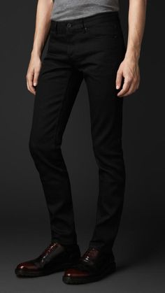 $495, Black Jeans: Burberry Prorsum Skinny Fit Black Selvedge Jeans. Sold by Burberry. Click for more info: https://lookastic.com/men/shop_items/287533/redirect