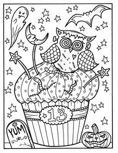 Halloween Cupcakes part 2 printables adult coloring fun for Vixen Halloween, Misfits Halloween, Chat Halloween, Bonbon Halloween, Halloween Doodle, Halloween Drawings, Halloween Vampire, Halloween Cupcakes, Funny Halloween