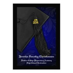 Classic traditional mortarboard Cap and tassel, Class of 2014 Black and Blue Tassel Charm 5x7 Graduation Announcements Invitations, Custom Personalized with any High School or College and Graduate details. $2.10