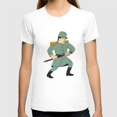 Confederate Army Soldier Drawing Sword Cartoon T-shirt Illustration of a Confederate Army soldier during the American Civil War drawing his sword on isolated background done in cartoon style. #Drawingillustration #ConfederateArmySoldier