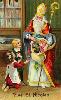 The Hierophant from the Christmas Tarot deck by Corrine Kenner. Victorian Christmas, Vintage Christmas Cards, Christmas Images, Vintage Cards, Vintage Postcards, Christmas Postcards, Santas Vintage, Vintage Santa Claus, Merry Christmas Santa