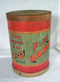 RARE Antique Country Store Pepper Spice Bin Wood Barrel Color Litho Dispenser | eBay