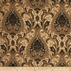 Refresh and modernize an old piece of furniture and update it with a new look. This heavyweight chenille jacquard upholstery fabric is appropriate for some window treatments, accent pillows, upholstering furniture, headboards and ottomans. Colors include copper, tan and black.