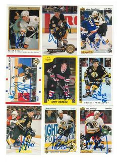 Boston Bruins Lot of 9 Autographed Cards. You will receive all cards in the picture. This Lot includes: Glen Wesley, Grigori Panteleyev, Peter Douris, Jon Rohloff, Dave Thomlinson, Marc Potvin, Don Sweeney, Bob Sweeney & Andy Bezeau.