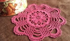 Crochet Pink Round Doily Cotton Centerpiece Crochet Home Decor Table Decor made in Lithuania by RenataaDesigns on Etsy