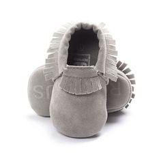 Girl Boy Grey Pram Crib Shoe 1st Birthday Baby Shoes Moccasin Cakesmash Photo  | eBay
