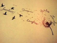 Beautiful dandelion tattoo with words (would use different words and own handwri. - Beautiful dandelion tattoo with words (would use different words and own handwriting) - 1000 Tattoos, Word Tattoos, New Tattoos, Initial Tattoos, Tattoos With Kids Names, Little Tattoos, Tattoos For Women, Childrens Names Tattoo Ideas, Tattoos For Children