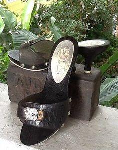 La Perla. Italy Black Signature Rubber Upper Rhinesone Adj Buckle Slide Heels 37