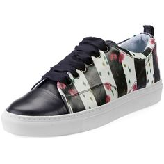 Lanvin Floral-Print Leather Low-Top Sneaker ($337) ❤ liked on Polyvore featuring shoes, sneakers, shoes sneakers, laced up flats, lanvin sneakers, floral sneakers, flat pumps and lace up flats