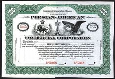 Persian-American Commercial Corp., 19xx (ca.191030), Specimen Stock Certificate.