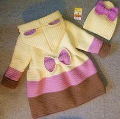 Crochet Bebe Saco New Ideas Crochet Baby Jacket, Crochet Baby Sweaters, Crochet Coat, Baby Girl Crochet, Crochet Baby Clothes, Crochet Cardigan, Crochet For Kids, Baby Knitting, Baby Boy Cardigan