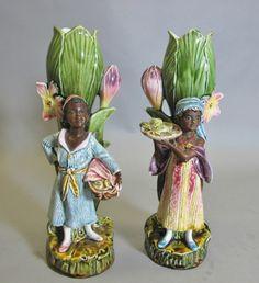 Rare Pair of Antique Majolica Blackamoor Figurines c. 1900 art pottery