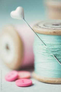 Pastel ( by RuthBlack,Stocksy United) Soft Colors, Pastel Colors, Colours, Aqua Coral, Turquoise, Pastel Palette, Techniques Couture, Wooden Spools, Colour Board