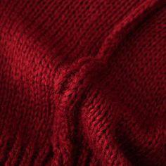 Jersey suelto punto cable manga larga-rojo-Spanish SheIn(Sheinside)