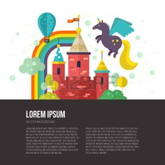 Flat vector illustration of old castle with unicorn trees rainbow Imagination and creative thinking  Stock Vector