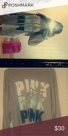 Lose long sleeve Thin, oversized! Worn a few times, very comfortable. Willing to trade, make an offer! PINK Victoria's Secret Tops Tees - Long Sleeve