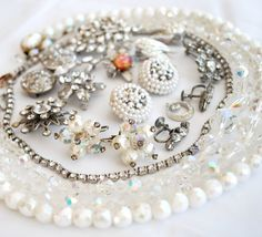 White Rhinestone Destash, vintage jewelry lot, craft repurpose