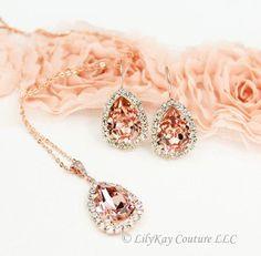 12ba41e2 Genuine Swarovski Crystal Blush Pink Pear Drop Earrings - ***Stone color in  photo
