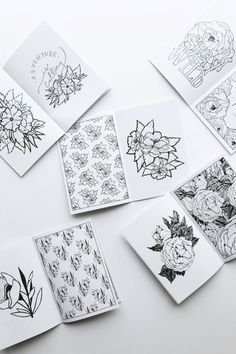 Experience the trending phenomenon of colouring with the Blossom & Bloom Pocket-Sized Colouring Book! Its filled with 16 hand-drawn illustrations that range from simple flowers with typography to complex & intricate patterns. Colouring, Coloring Books, Bold Typography, Industrial Design Sketch, Stationery Paper, Simple Flowers, Beautiful Hands, Branding Design, How To Draw Hands