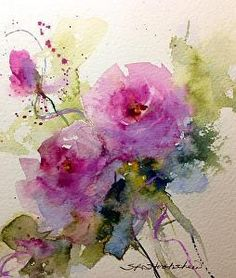 Paper Roses by Sandy Strohschein Watercolor ~ 7 x 5