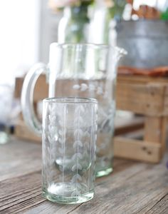 Tall Mexican Flower Glass with Leaves {The Little Market}
