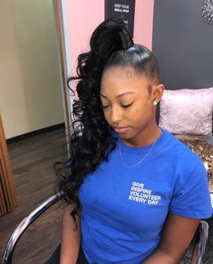 Most current Free Ponytail Hairstyle blackgirl Ideas A ponytail doesn't just ought to be a coiffure Slick Ponytail, Long Hair Ponytail, Hair Ponytail Styles, High Ponytails, Curly Ponytail Weave, Ponytail Hairstyles Tutorial, Weave Hairstyles, Hairstyle Ideas, Black Hairstyles