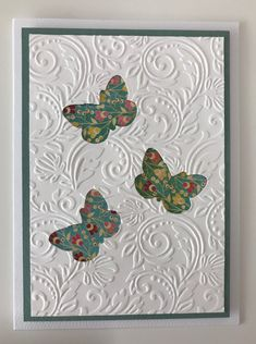 This is an interesting idea - cut out shapes from embossed card stock instead of layering on top Hand Made Greeting Cards, Easter Greeting Cards, Making Greeting Cards, Greeting Cards Handmade, Bee Cards, Embossed Cards, Card Making Techniques, Card Patterns, Butterfly Cards