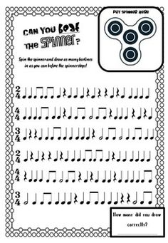 If you can't beat them join them! Are Fidget Spinners driving you crazy? Capture the fidget spinner craze and turn it into rigorous meaningful learning in your classroom with these engaging rhythm challenges. Each activity allows students to explore a different type of rhythm activity including identifying time signatures, identifying where barlines go, clapping rhythms, the value of rhythms (addition/times tables), rhythm word problems and note values with their associated rests. The pages…