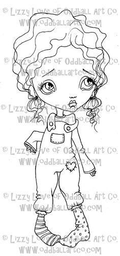 Digi Stamp Digital Instant Download Big Eye Girl by OddballArtCo, $3.00 *** 725 items sold in 3.5 years ***