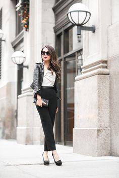 Jacket :: Burberry Jumpsuit :: Cynthia Rowley Shoes :: Miu Miu  Accessories :: Chanel wallet, Karen Walker sunglasses, Stila 'Fiery' lip color, Lulu Frost rings.
