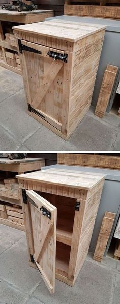 Pallet Furniture Projects Pallet cabinet - It will not be wrong to say that you always search for an approach to spruce up your home's overall look, without using up every last cent you have or causing superfluous damage the earth. Wooden Pallet Crafts, Wooden Pallet Furniture, Diy Pallet Projects, Wooden Pallets, Wooden Diy, Furniture Projects, Woodworking Projects, Pallet Benches, Pallet Tables