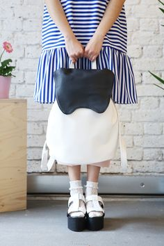 Tote Backpack, Black Backpack, Stripe Dress, Dress Collection, Jewlery, Peplum, Bunny, Buy And Sell, Ivory