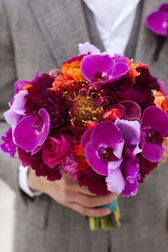 i love this! Purple and Orange Bouquet