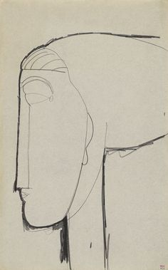Modigliani - Head with Chignon     Black crayon,   42.7 x 26.4 cms