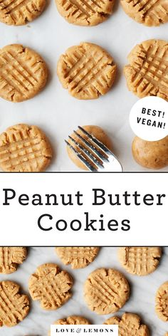 These are hands down the BEST Peanut Butter Cookies! They have a delicious nutty flavor and crumbly, melt-in-your-mouth texture. This peanut butter cookie recipe is vegan and easy to make! Making Peanut Butter, Best Peanut Butter Cookies, Natural Peanut Butter, Creamy Peanut Butter, Cookies Vegan, Lemon Butter, Healthy Cookies, Vegan Dessert Recipes, Vegan Sweets