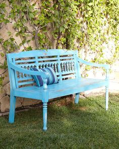 Maya Blue Teak Outdoor Bench
