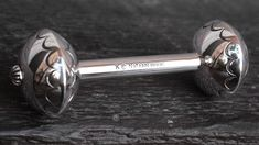 HAND STAMPED STERLING SILVER BABY RATTLE by KARL NATAANI-NAVAJO-NATIVE AMERICAN