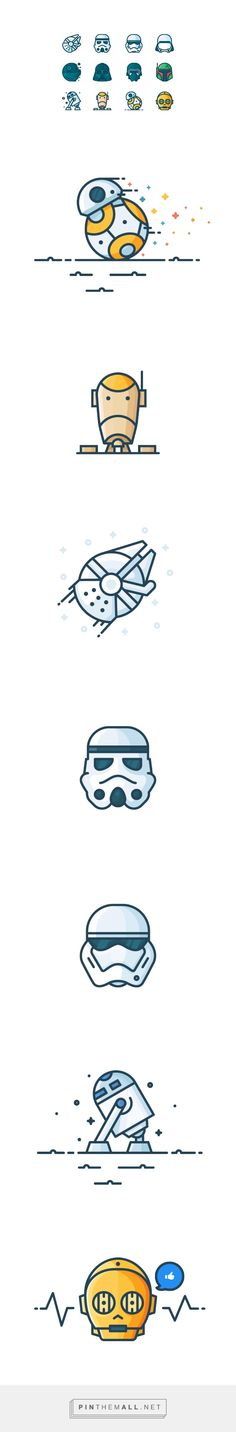 Outline Star Wars Icons on Behance... - a grouped images picture