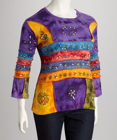Take a look at this Purple Tie-Dye Floral Plus-Size Top by Rising International on #zulily today!
