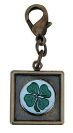 Brass Ox Cluster Charm with Clover