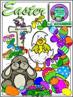 The cross, cute bunnies, baby chicks flowers & Easter eggs clipart looking for good homes.  All are hand drawn & created by  rz aLEXANDER, eMBELLISH yOURSELF  aRTWORKS