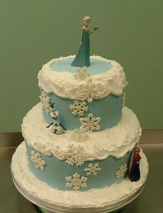 Disney Frozen theme birthday cake.  The characters were provided by my friend.